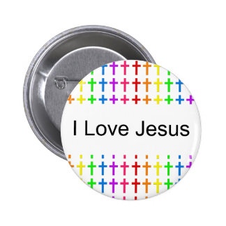 Rainbow Crosses 6 Cm Round Badge