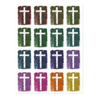Rainbow crosses postcard
