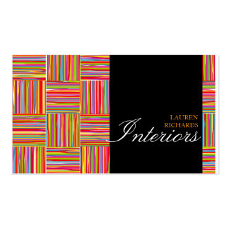 Rainbow crosshatch  + black interior design Double-Sided standard business cards (Pack of 100)