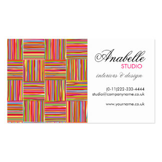 Rainbow crosshatch interior design Double-Sided standard business cards (Pack of 100)