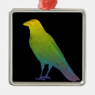 Rainbow Crow Christmas Ornament