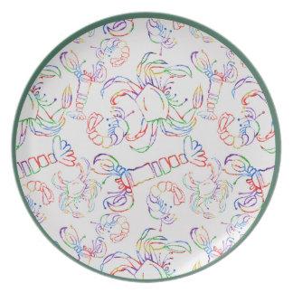 Rainbow Crustacean Melamine Plate