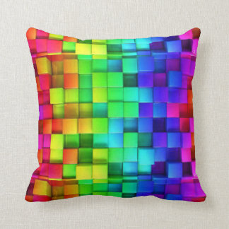 Rainbow Cubes Throw Pillow