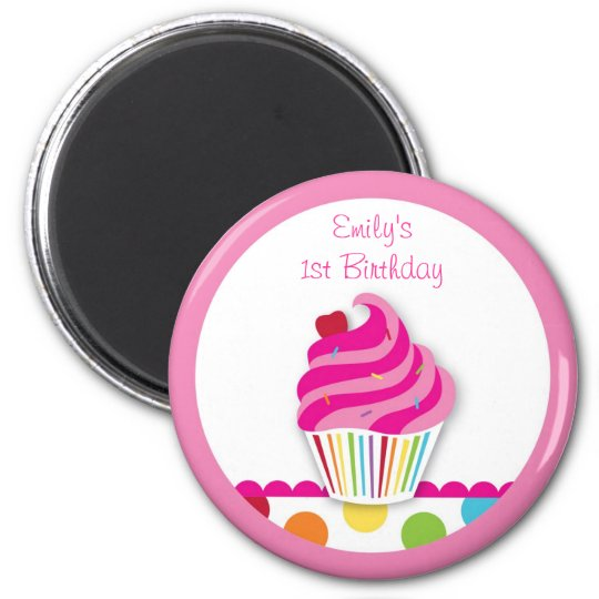 Rainbow Cupcake Birthday Party Favour Magnets