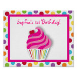 Rainbow Cupcake Birthday Party Sign Poster