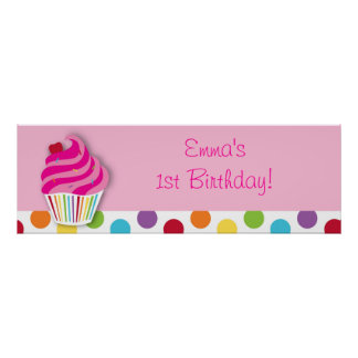 Rainbow Cupcake Birthday Personalized Banner Sign