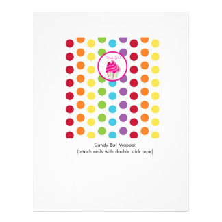 Rainbow Cupcake Personalised Candy Bar Wrappers 21.5 Cm X 28 Cm Flyer