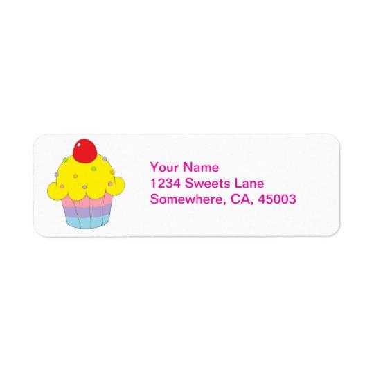 Rainbow Cupcake Return Address Label