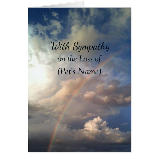 Rainbow Custom Pet Loss Sympathy Card