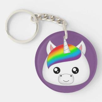 Rainbow Cute Kawaii Unicorn Face Head Key Ring