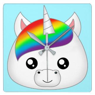 Rainbow Cute Kawaii Unicorn Face Head Square Wall Clock