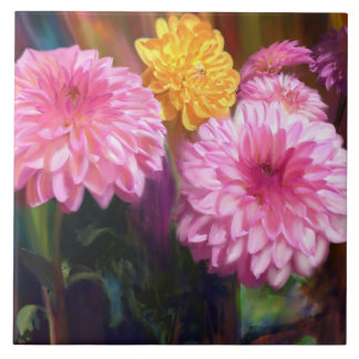 Rainbow Dahlias Tile