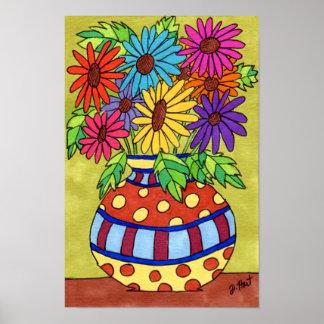 Rainbow Daisies in Designer Vase Poster