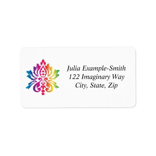 Rainbow Damask Custom Label