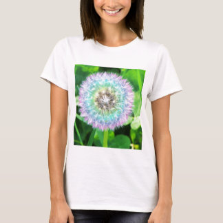 Rainbow Dandelion Ladies Baby Doll Tee Shirt