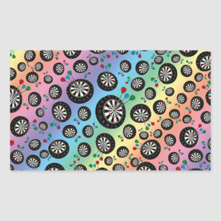 Rainbow dartboard pattern rectangle sticker