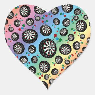 Rainbow dartboard pattern heart stickers