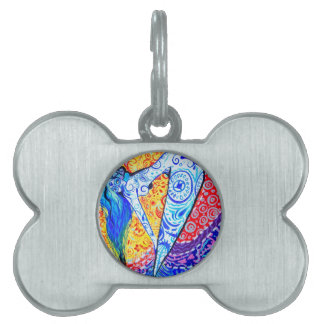 Rainbow Day of the Dead Mermaid Pet ID Tag