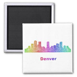 Rainbow Denver skyline Square Magnet