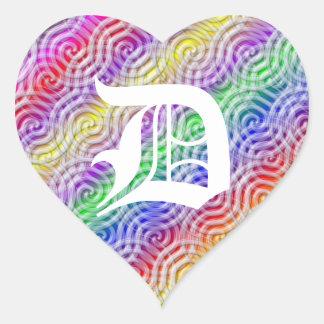 Rainbow Design Monogram Letter D Sticker