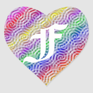 Rainbow Design Monogram Letter F Sticker
