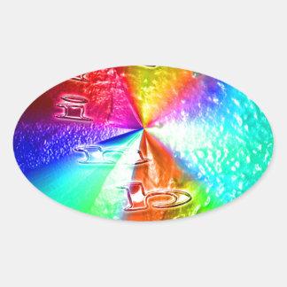 rainbow design oval sticker