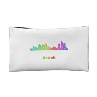 Rainbow Detroit skyline Makeup Bags