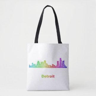 Rainbow Detroit skyline Tote Bag