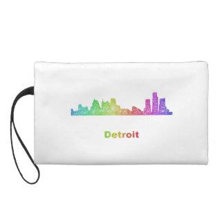 Rainbow Detroit skyline Wristlet Clutches