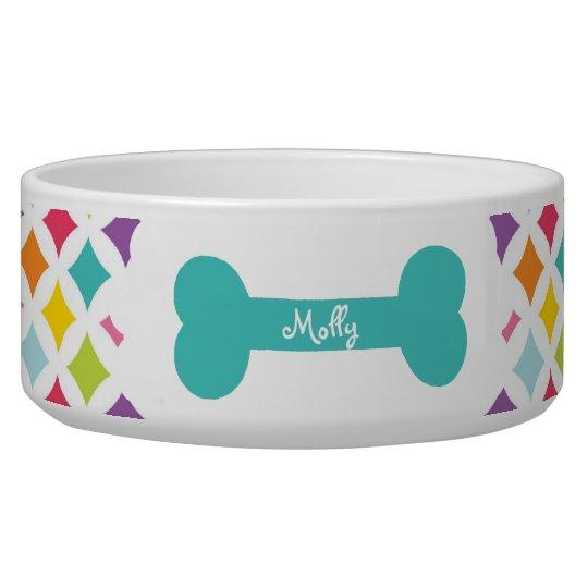 Rainbow Diamond Print Personalised Dog Food Bowls