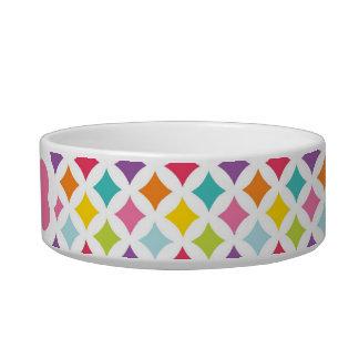 Rainbow Diamond Print Personalized Pet Bowls
