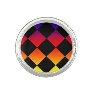 Rainbow Diamond Triangles Round Silver Dress Ring. Ring