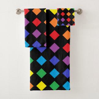 Rainbow Diamonds Black Bath Towel Set