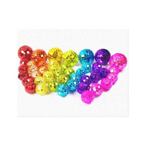 rainbow disco balls toile tendue zazzle. Black Bedroom Furniture Sets. Home Design Ideas