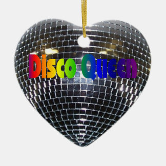 Rainbow Disco Queen Retro 70s Silver Mirror Ball Ceramic Heart Decoration