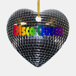 Rainbow Disco Queen Retro 70s Silver Mirror Ball Christmas Ornament