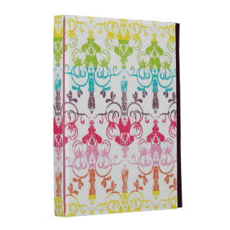 Rainbow distressed damask chandelier girly pattern iPad case