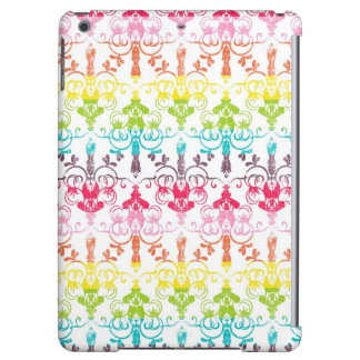 Rainbow distressed damask chandelier ombre pattern iPad air cover