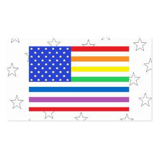 Rainbow Diversity USA Flag Biz Cards 2 Pack Of Standard Business Cards