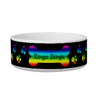 Rainbow Dog Bowl With Paws and Bone