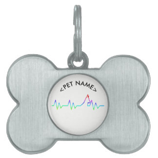 Rainbow Dog Heartbeat Pet ID Tag