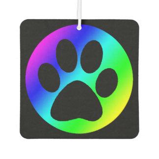 Rainbow Dog Paw Print Car Air Freshener
