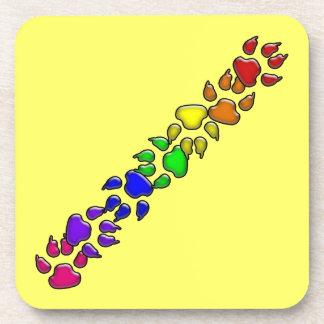 rainbow dog print beverage coasters