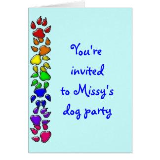 rainbow dog print greeting card