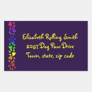 rainbow dog print rectangular sticker