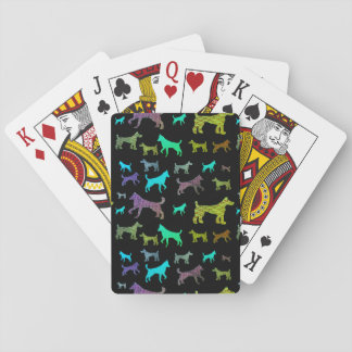 Rainbow Dogs on Black Playing Cards