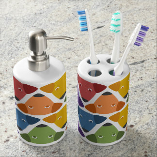 Rainbow Dogs Soap Dispenser And Toothbrush Holder