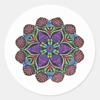 Rainbow Doily Mosaic Round Stickers