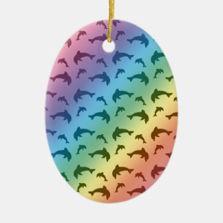 Rainbow dolphin pattern christmas ornament