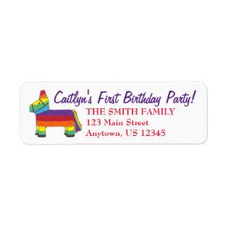 Rainbow Donkey Piñata Birthday Party Fiesta Pride Return Address Label